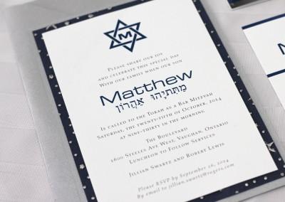 hebrew invitations, bar mitzvah invitation, star of david invitation, traditional bar mitzvah invitation, silver stars invitation, handmade invitations, bar mitzvah invitations, custom bar mitzvah invitations, bar mitzvah invitations Toronto,
