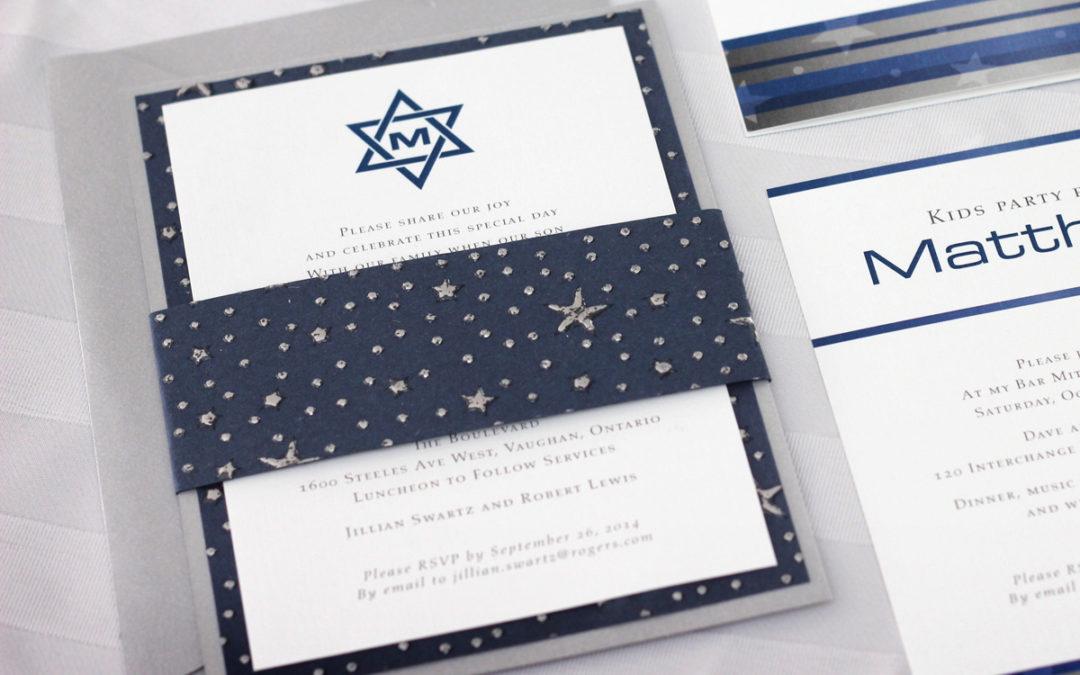 Hebrew invitations archives impressions custom invitations for silver stars star of david bar mitzvah invitation negle Choice Image