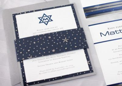 Silver Stars & Star of David Bar Mitzvah Invitation