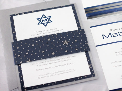 Silver Stars & Star of David Bar Mitzvah Invitation