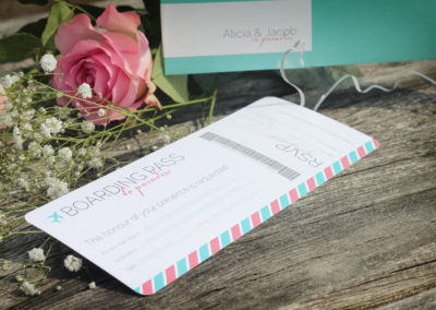 Boarding Pass Style Destination Wedding Invitation
