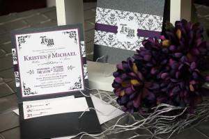 wedding invitation, custom invitation, handmade invitation, pocketfold invitation, RSVP card, direction card, monogram, vintage, halloween, gothic, damask