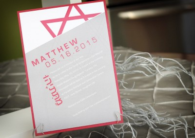 Tilted, Modern Bar Mitzvah Invitation with Star of David
