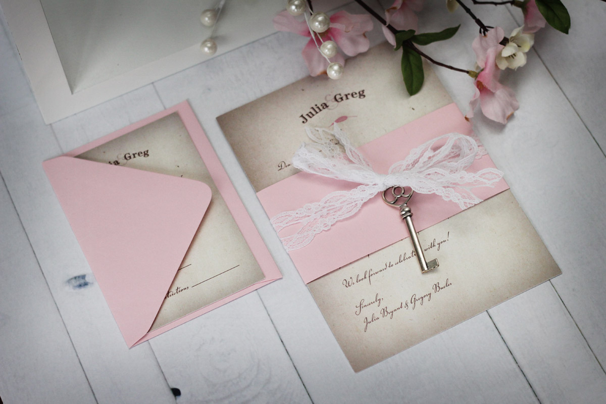 Preferred Vintage wedding invitations with lace and key BX32