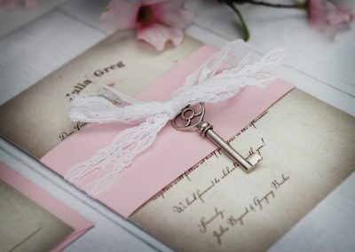Vintage Wedding Invitations with Lace and Skeleton Key