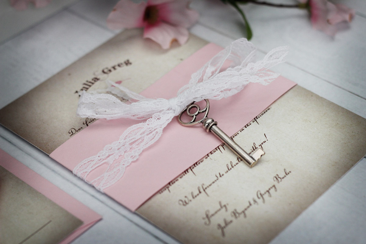 Vintage wedding invitations with lace and key stopboris Choice Image
