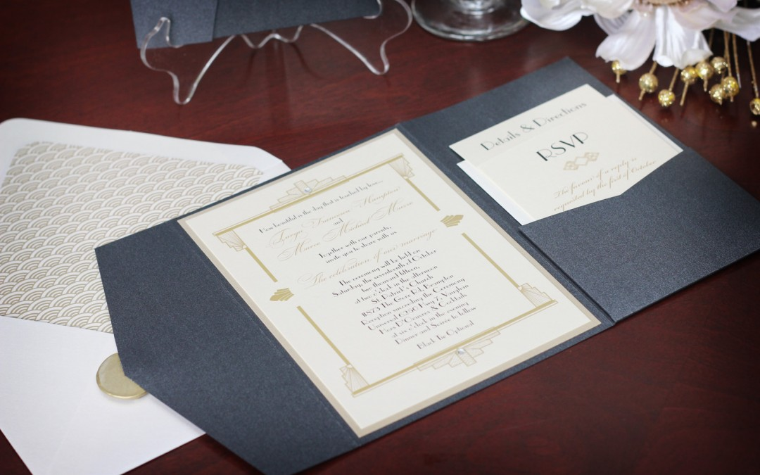 1920s Art Deco Wedding Invitation Suite