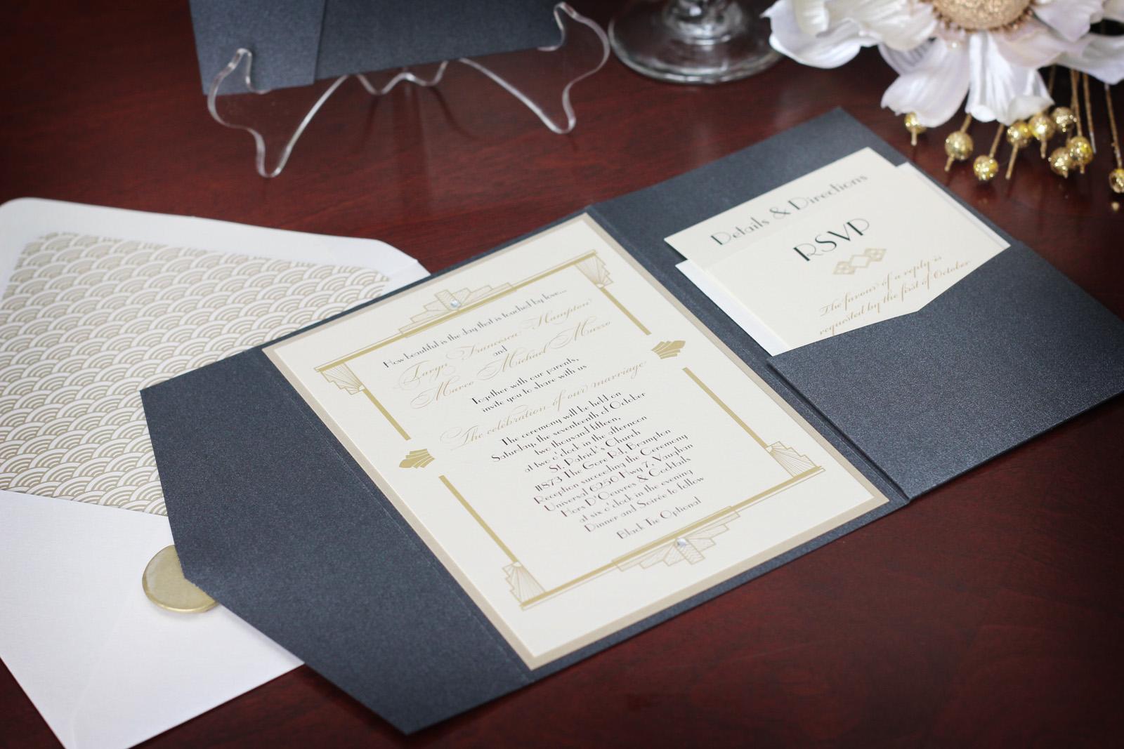 1920s Art Deco Wedding Invitation Suite