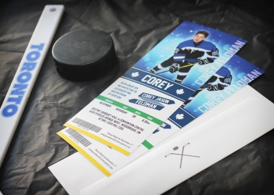 Ticket-Style Hockey Bar Mitzvah Invitations