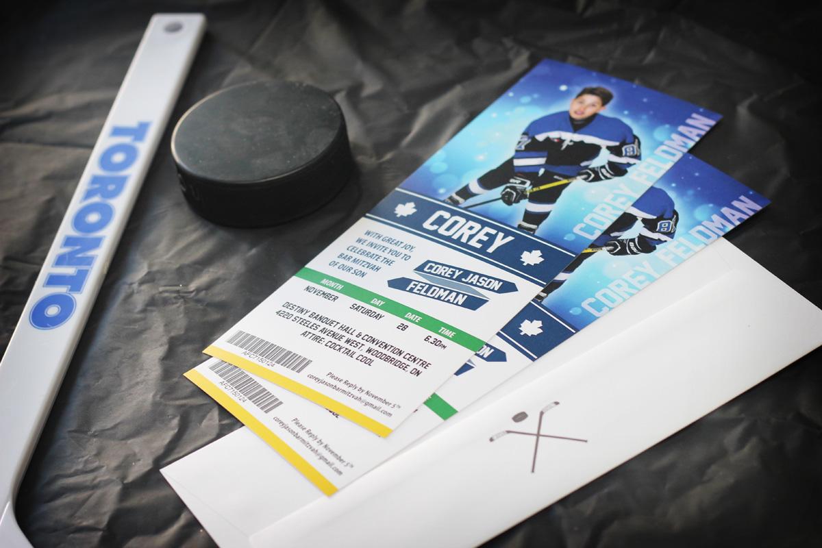 Ticket-Style Hockey Bar Mitzvah Invitations