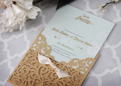vintage wedding invitations, wedding invitations, custom wedding invitations, laser cut wedding invitations, elegant wedding invitations, vintage wedding, laser-cut pocket, gold wedding invitations