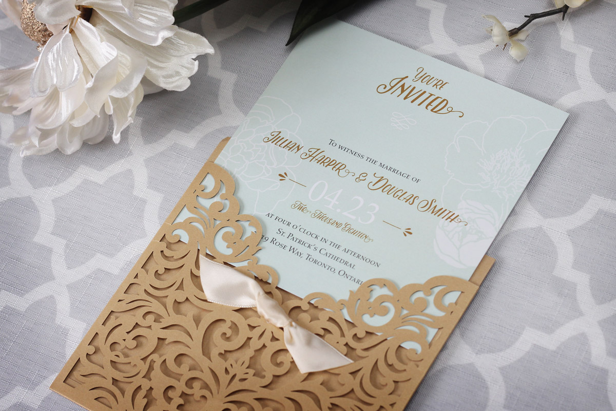 Elegant Vintage Wedding Invitation with Laser Cut Pocket