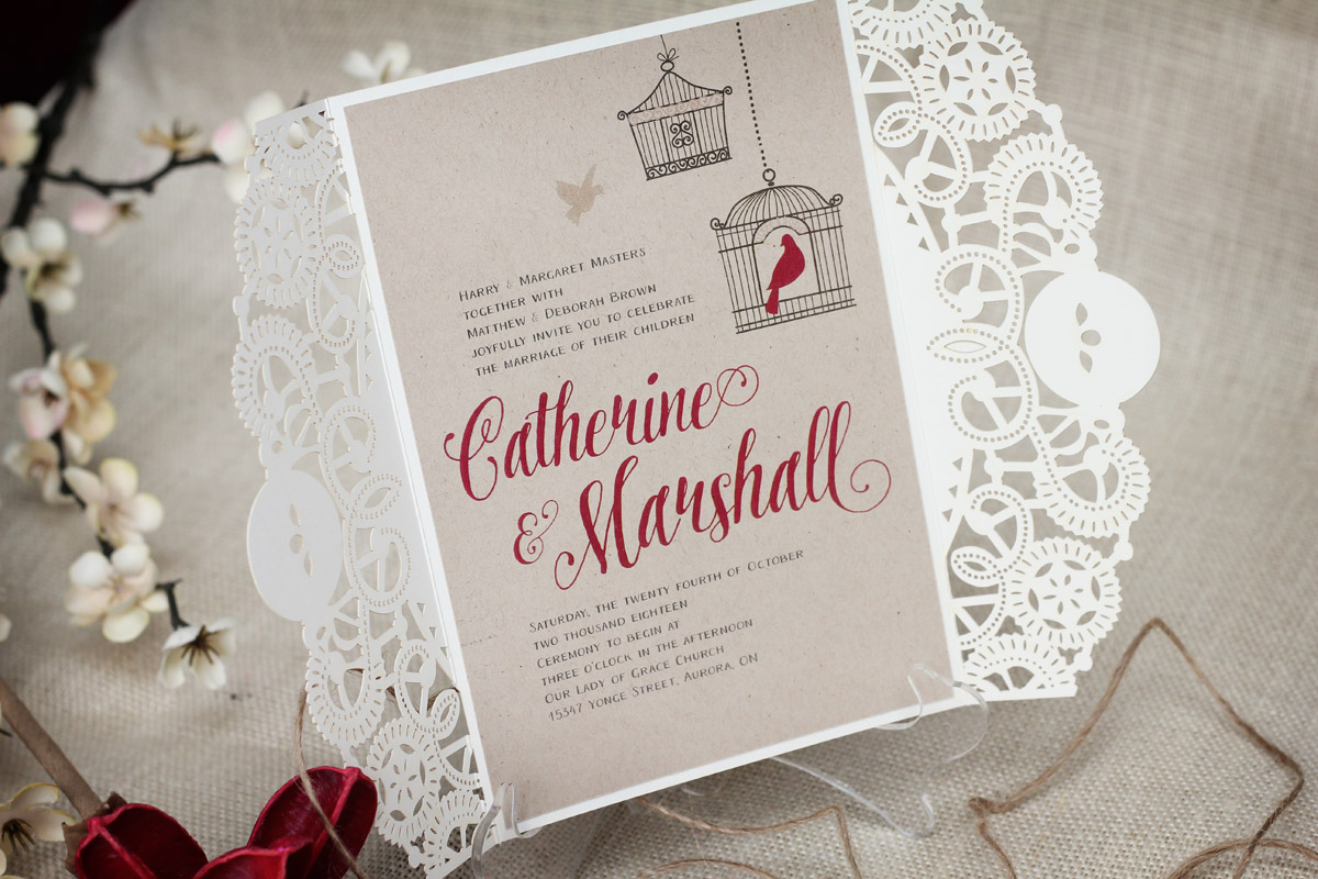 Rustic Birdcage Wedding Invitation