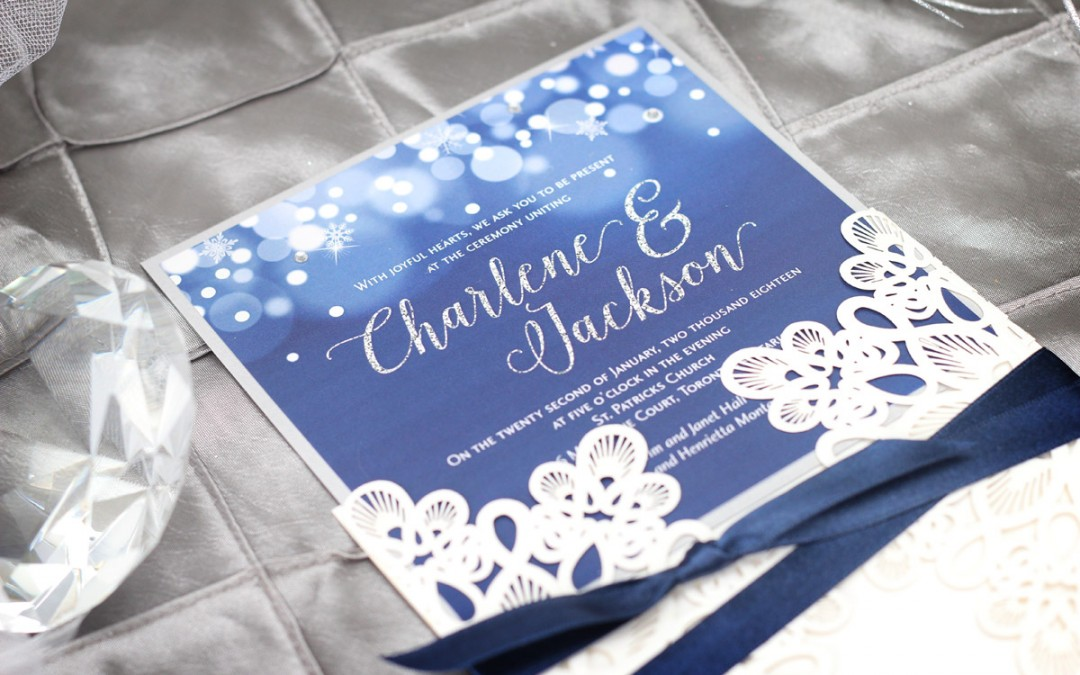 Midnight Snowfall Winter Laser Cut Wedding Invitation