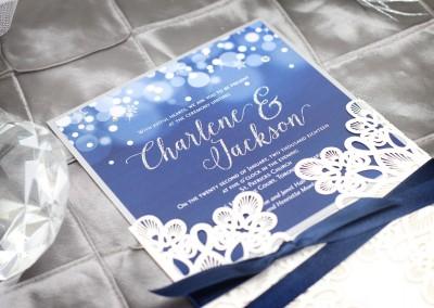 Midnight Snowfall Winter Laser Cut Wedding Invitation