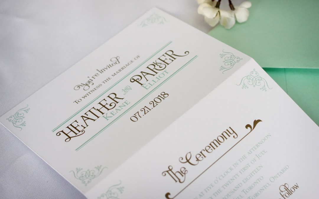 Tri-fold Vintage Wedding Invitation