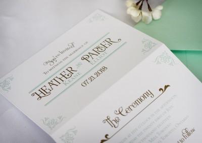 Tri-fold Vintage Wedding Invitation