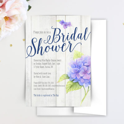 bridal shower invitations, beautiful bridal shower invitations, custom bridal shower invitations, bridal shower cards, floral bridal invitations, elegant bridal invitations, hydrangea bridal shower invitations, rustic bridal shower invitations, wood bridal shower invitations