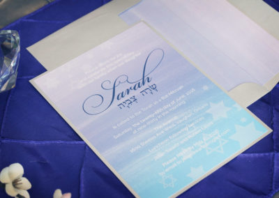 Watercolour Bat Mitzvah Invitations