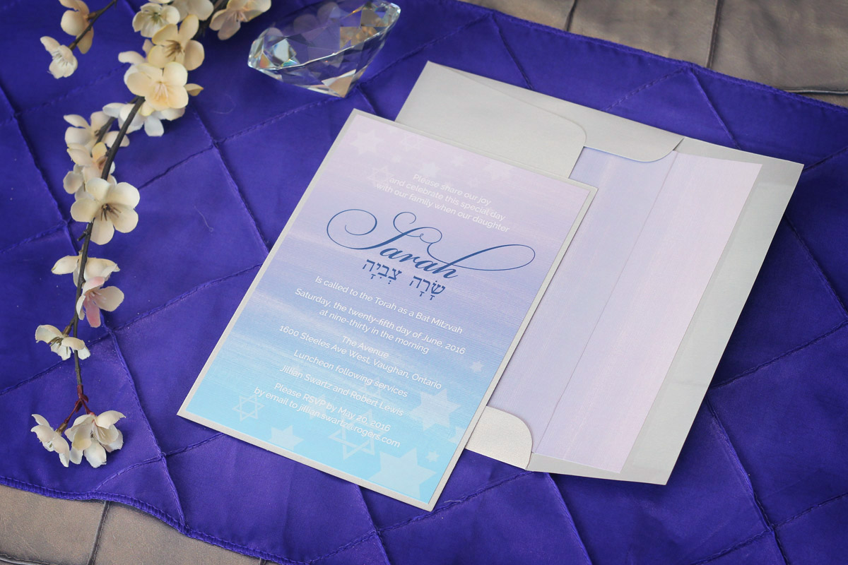 Watercolour bat mitzvah invitations impressions custom watercolour bat mitzvah invitations impressions custom invitations for weddings and bar mitzvahs personalized baby gifts greater toronto area canada negle Choice Image