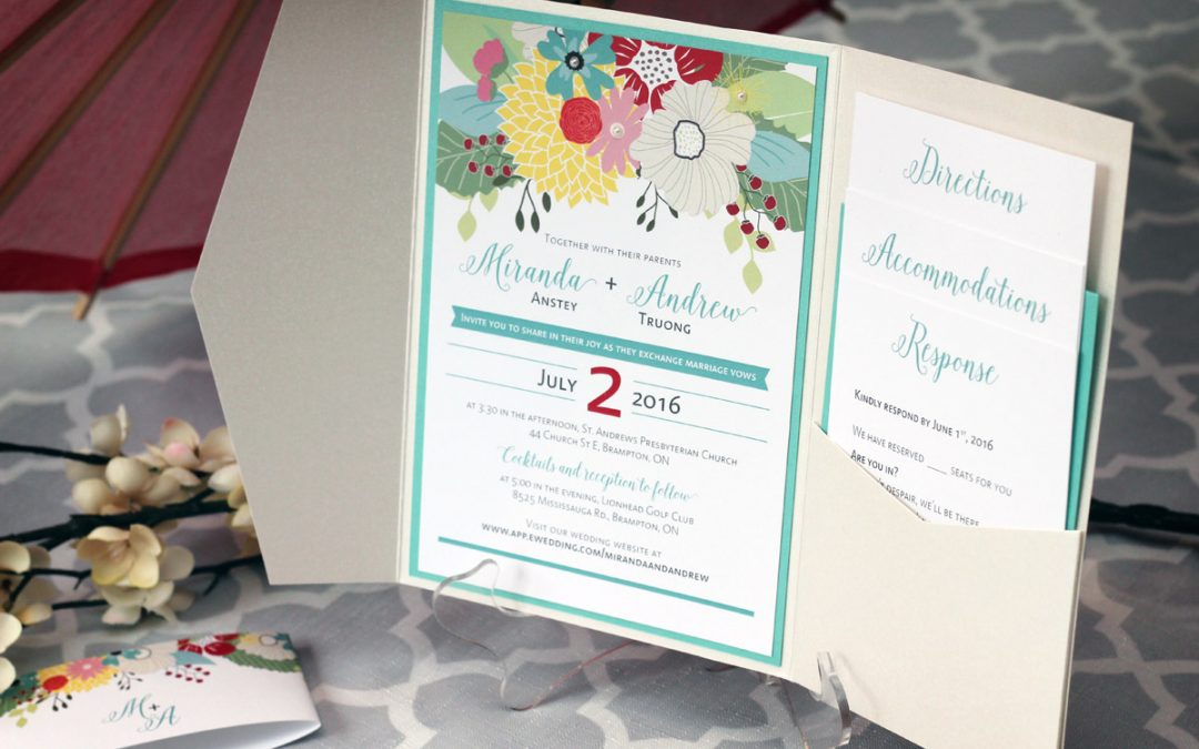 Colourful, Floral Pocket Fold Wedding Invitations