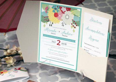 Colourful, Floral Pocket Fold Wedding Invitations