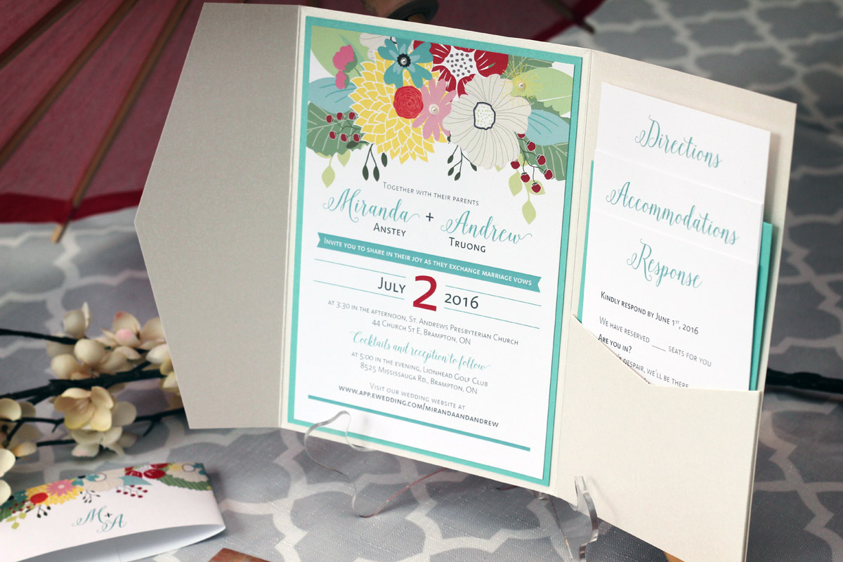Colourful, Floral Pocket Fold Wedding Invitations - Impressions ...