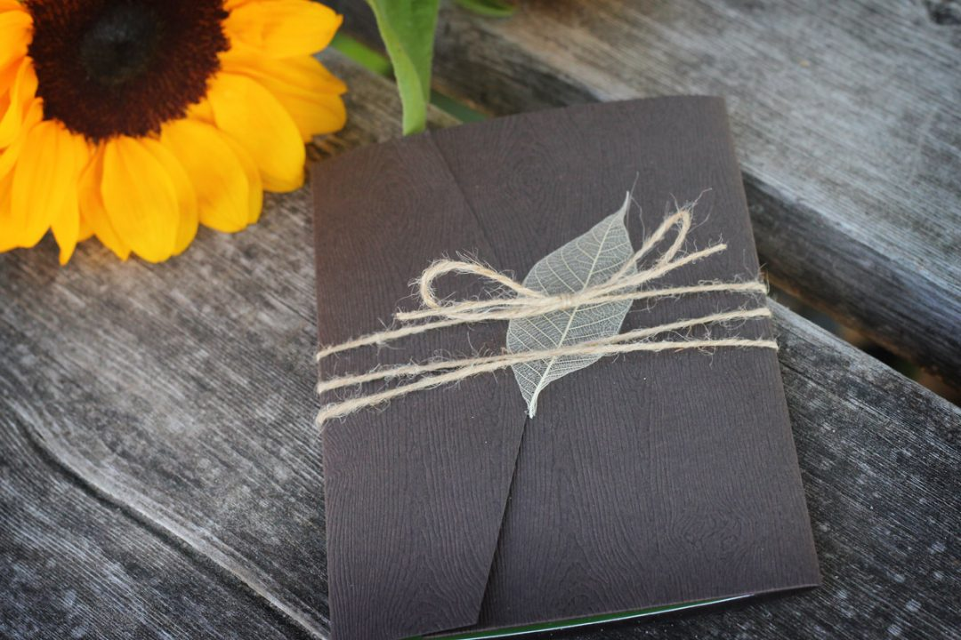 Rustic Wedding Invitations with Woodgrain Pocket fold