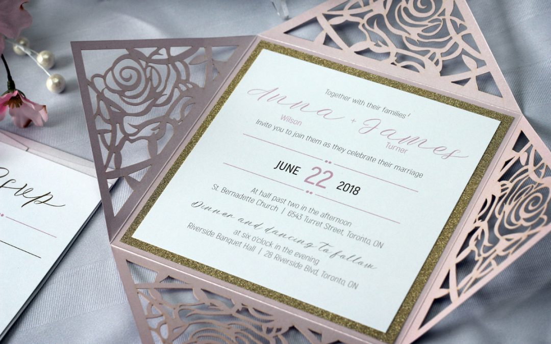 Rose Flower Laser Cut Wedding Invitations with Gold Glitter