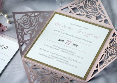 laser cut wedding invitations, laser cut invitations, rose laser cut, flower laser cut, sparkly wedding invitations, glitter wedding invitations, elegant wedding invitations, modern wedding invitations, square wedding invitations, unique invitations