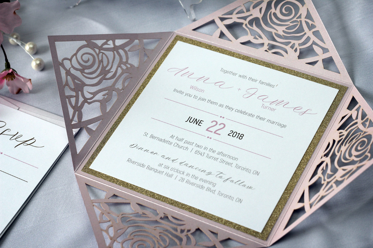 Laser Wedding Invitations: Rose Flower Laser Cut Wedding Invitations With Gold