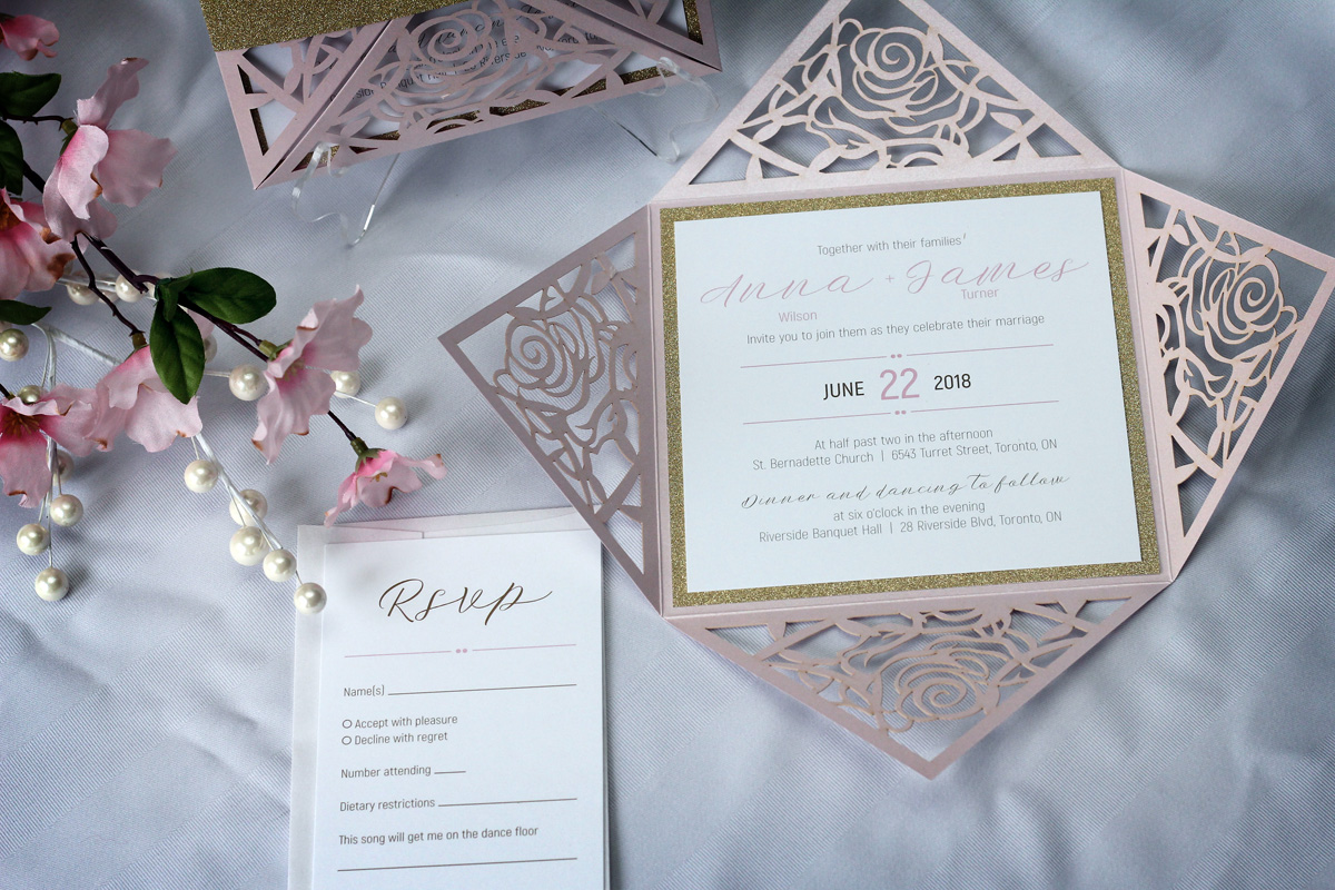 rose flower laser cut wedding invitations with gold
