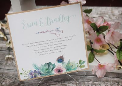 Boho Wedding Invitation with Watercolour Succulents