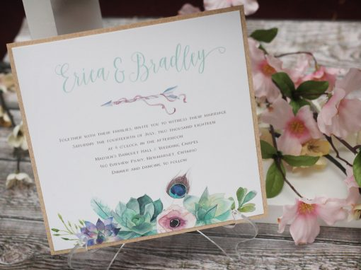 Boho Wedding Invitation with Watercolour Succulents