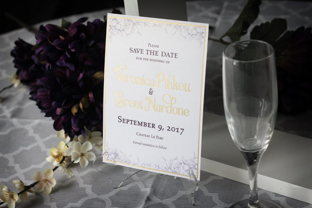 Gold Foil Stamped Save The Date Cards