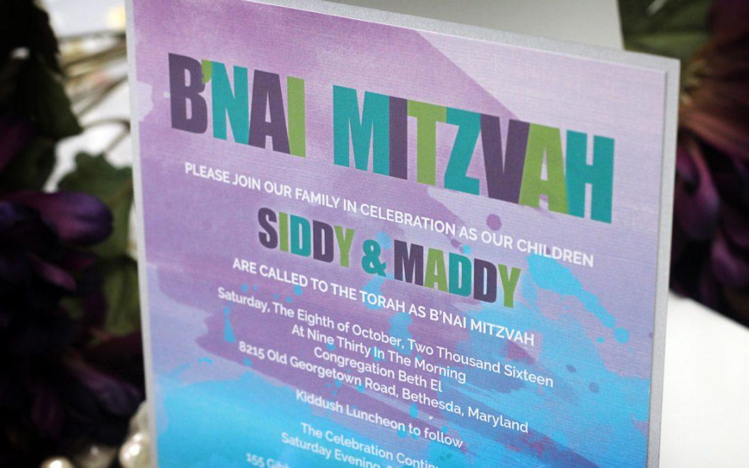 Watercolour Splatter Bat Mitzvah Invitations