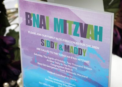 Watercolour Splatter Bat Mitzvah Invitations