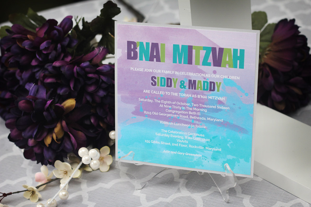 Watercolour splatter bat mitzvah invitations impressions custom watercolour splatter bat mitzvah invitations impressions custom invitations for weddings and bar mitzvahs personalized baby gifts greater toronto negle Choice Image