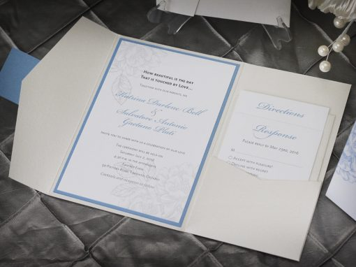 English Garden Pocket Fold Wedding Invitation