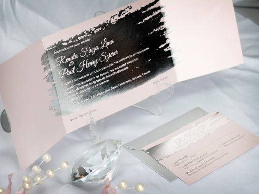 Silver Foil-Stamped Wedding Invitations