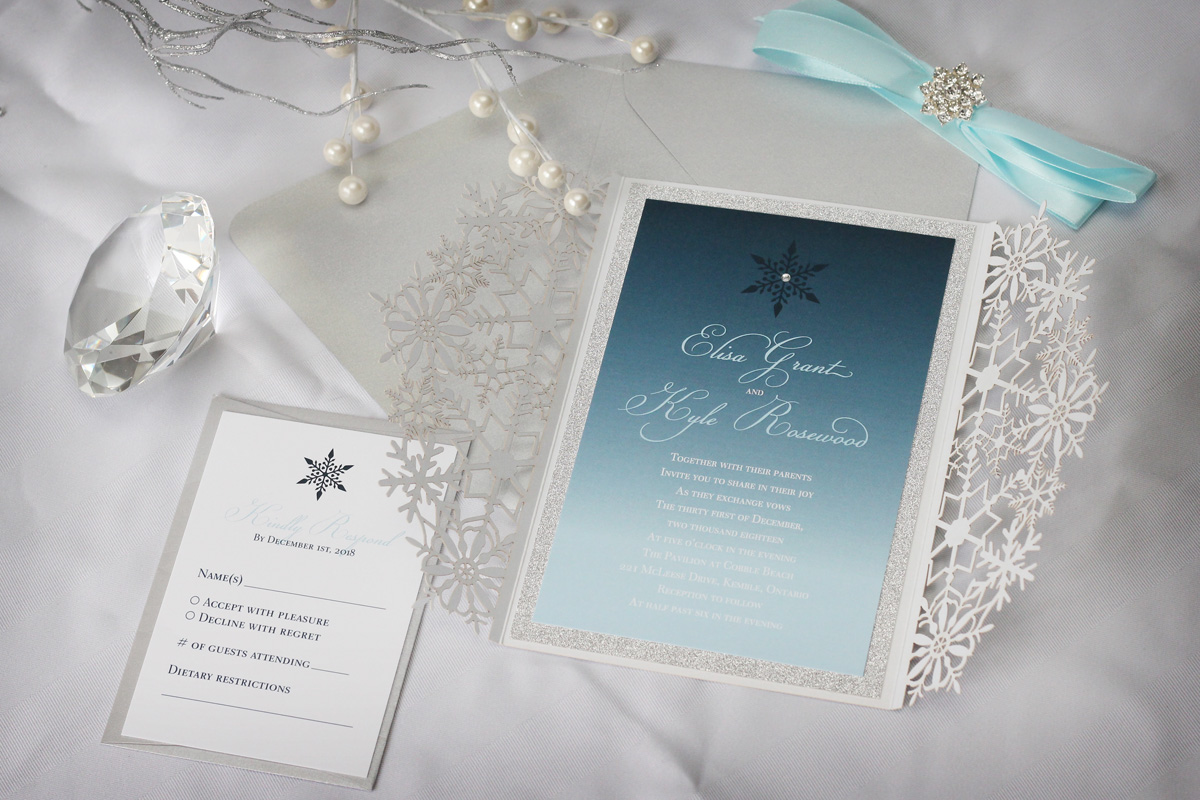 luxurious snowflake laser cut winter wedding invitation
