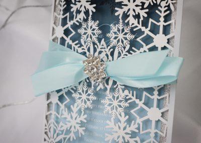 Luxurious Snowflake Laser Cut Winter Wedding Invitation