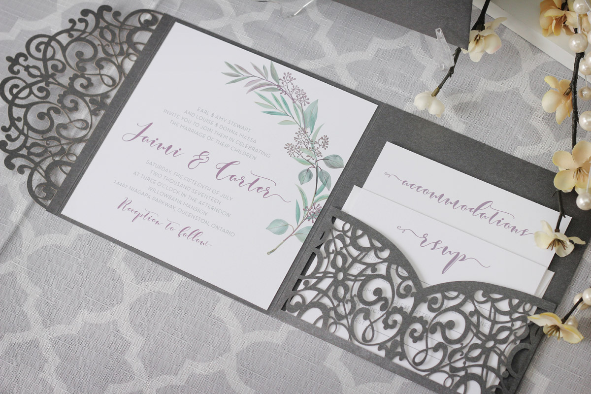 Olive Branch Tuscan Wedding Invitations with Laser Cut Enclosure ...