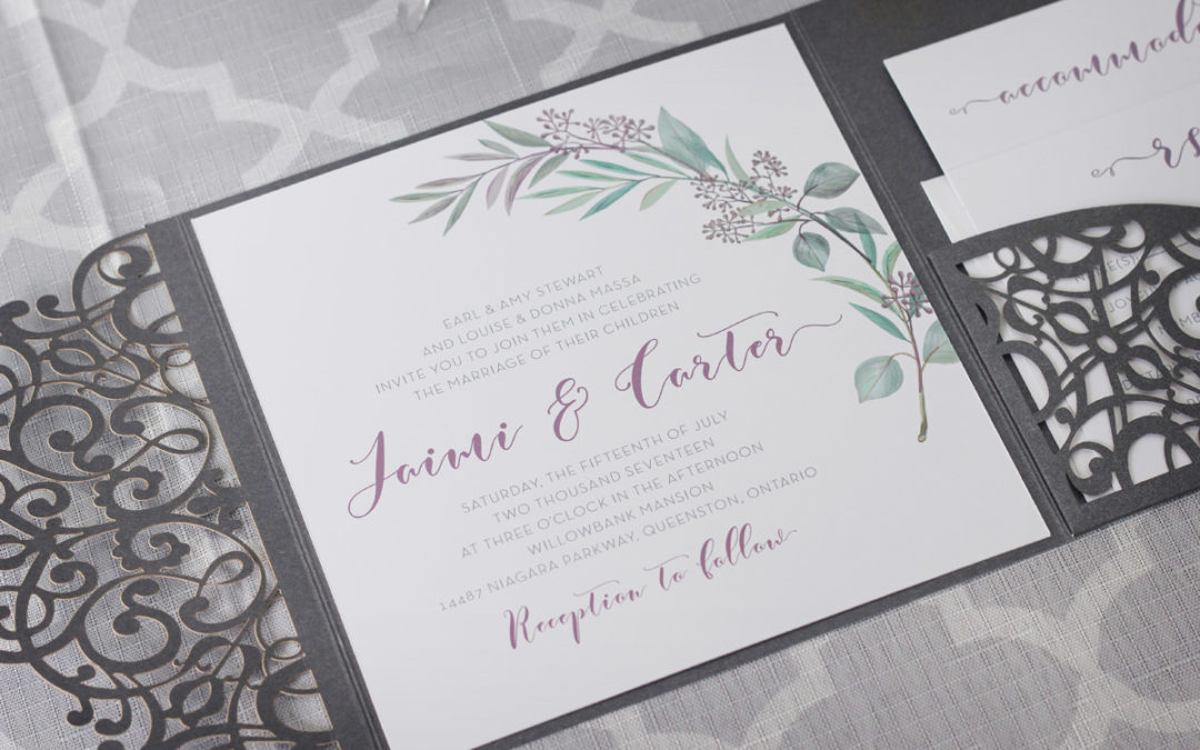 Olive Branch Tuscan Wedding Invitations with Laser Cut Enclosure