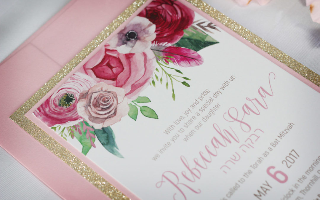 Watercolour Flower Bat Mitzvah Invitations