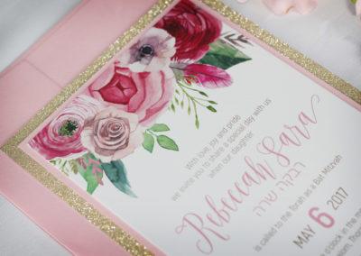 Watercolour Flower Bat Mitzvah Invitations