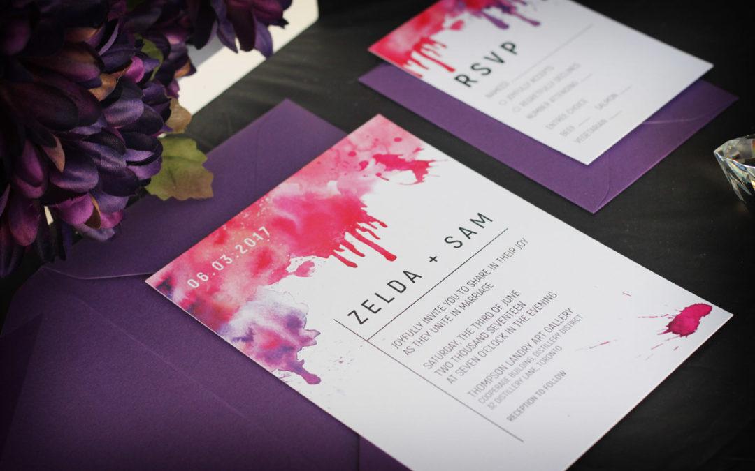 Watercolour Splash Wedding Invitation