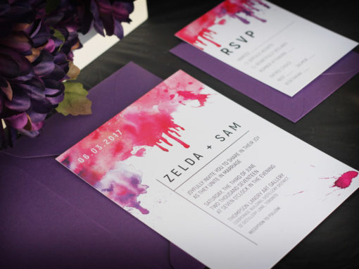 Watercolour Splash Wedding Invitation