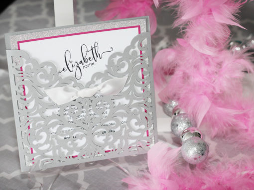 Glitzy Laser Cut Bat Mitzvah Invitations