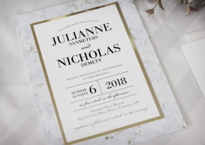 Marble Wedding Invitations with Gold Accents